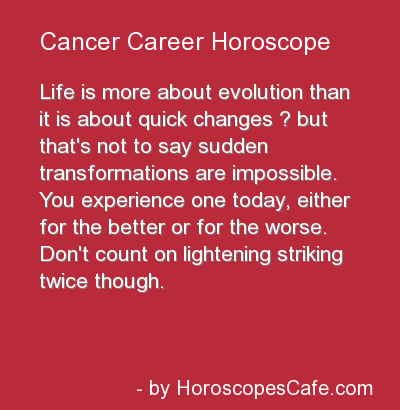 cancer career horoscope today