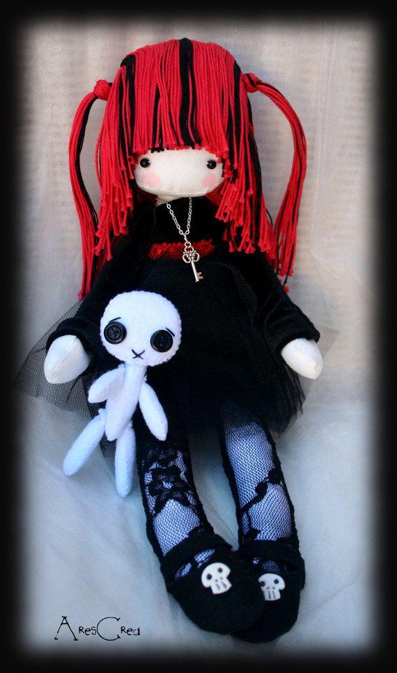 Emily emo goth cloth doll with skulls and voodoo doll friend handmade emo rag doll