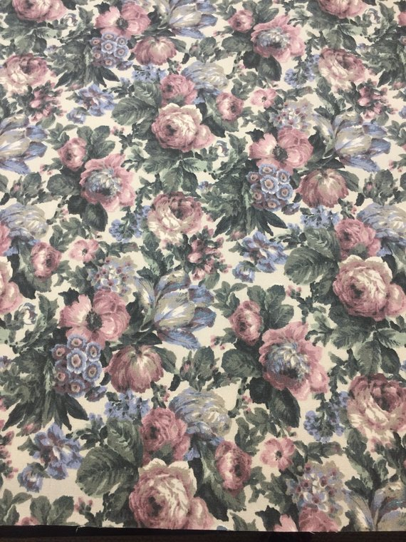 Vintage Upholstery Fabric Blue with Ribbons and Bows Heavy Cotton Blend