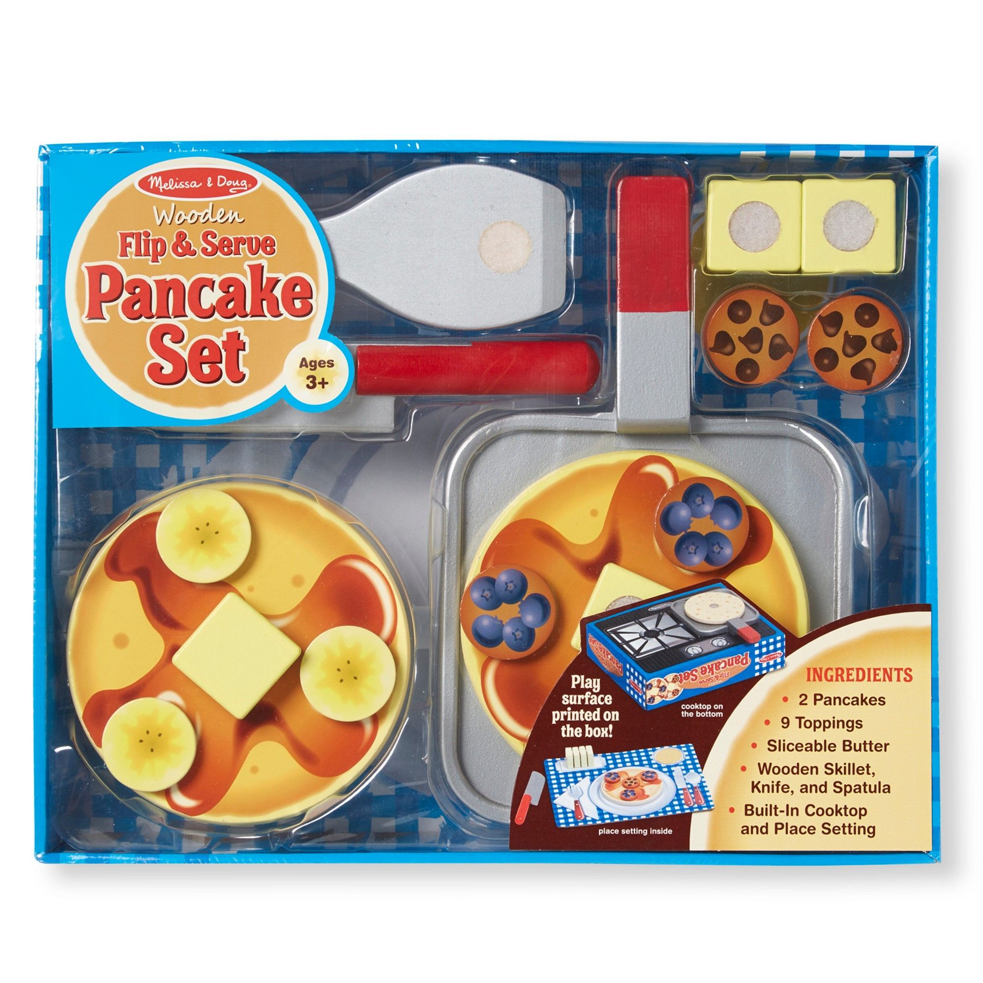 Melissa doug flip and serve pancake set 19pc wooden
