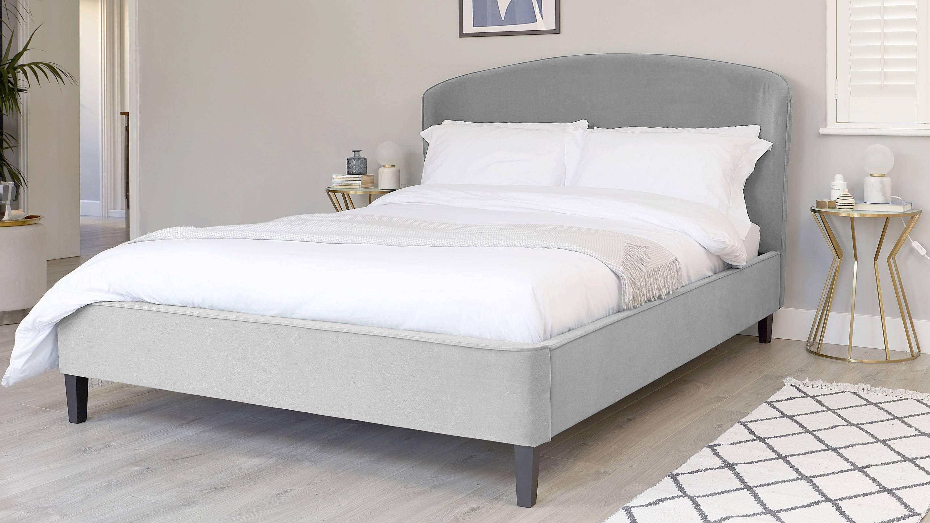 Best Carina Feather Grey Velvet Double Bed King Size Platform 640 x 480