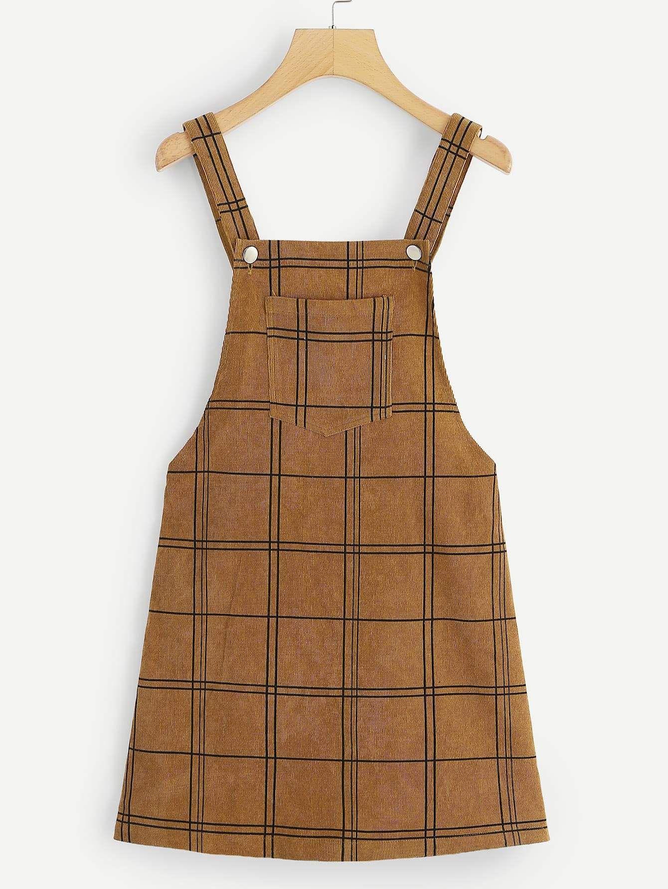 Bib Pocket Front Grid Corduroy Overall Dress