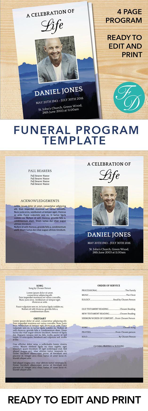 Mountains Printable Funeral program ready to edit & print. Simply ...