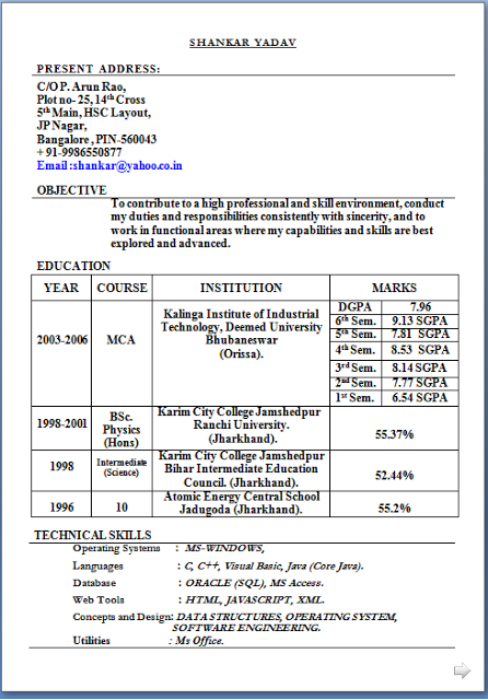 resume format for mca