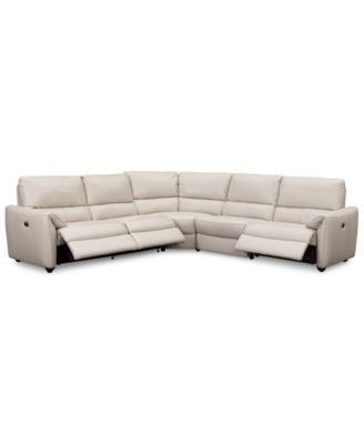 Hansin 5-Piece Leather Sectional with 3 Power Motion Recliners | macys.com  sc 1 st  Pinterest : 5 piece leather sectional - Sectionals, Sofas & Couches