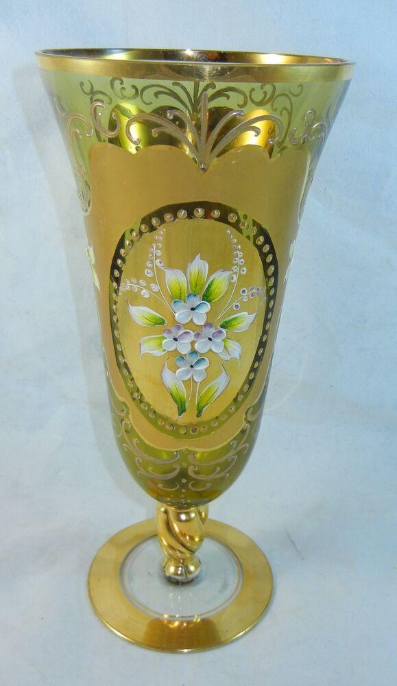 Vintage Gold Amber Glass Bottle Vase Hand Painted Flower Made