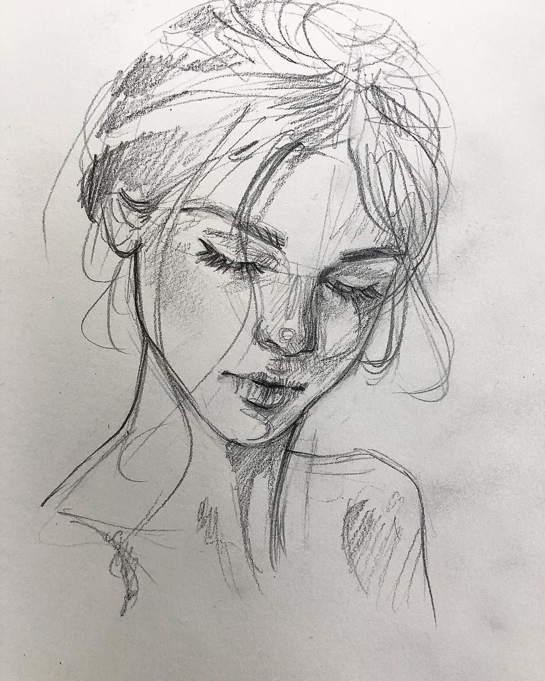 "A u d r e y A n n e on Instagram: ""Last sketch today � This 10 mnts doodle describes me so well. � . . . #sketch #pencil #practice #sketchdaily #dailysketch #sketching…"""