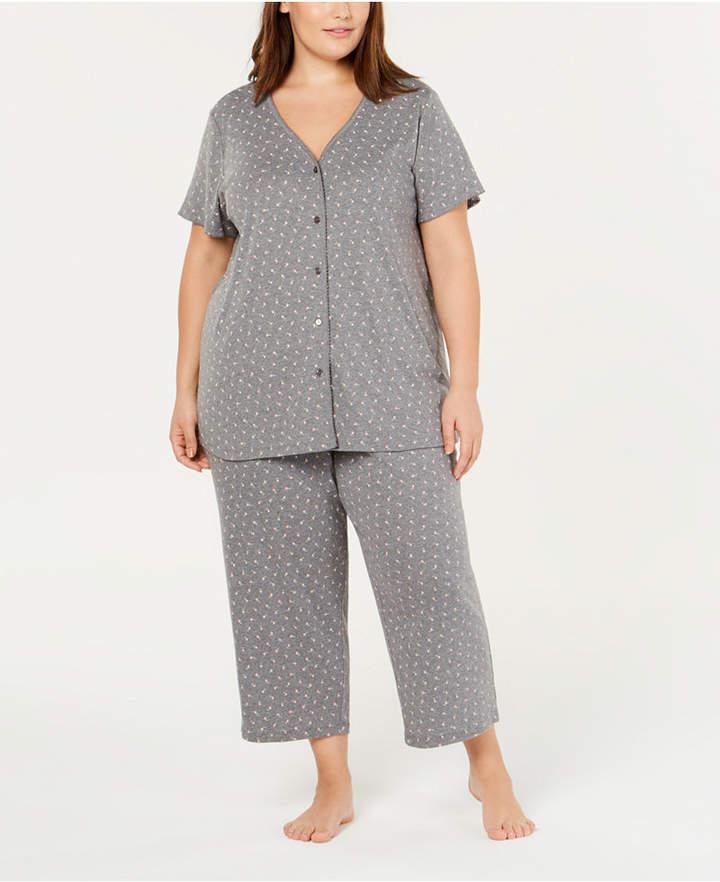 Charter Club Plus Size Printed Knit Pajama Set Created For Macy S Cotton Knit Pajamas Pajama Set Dresses With Leggings