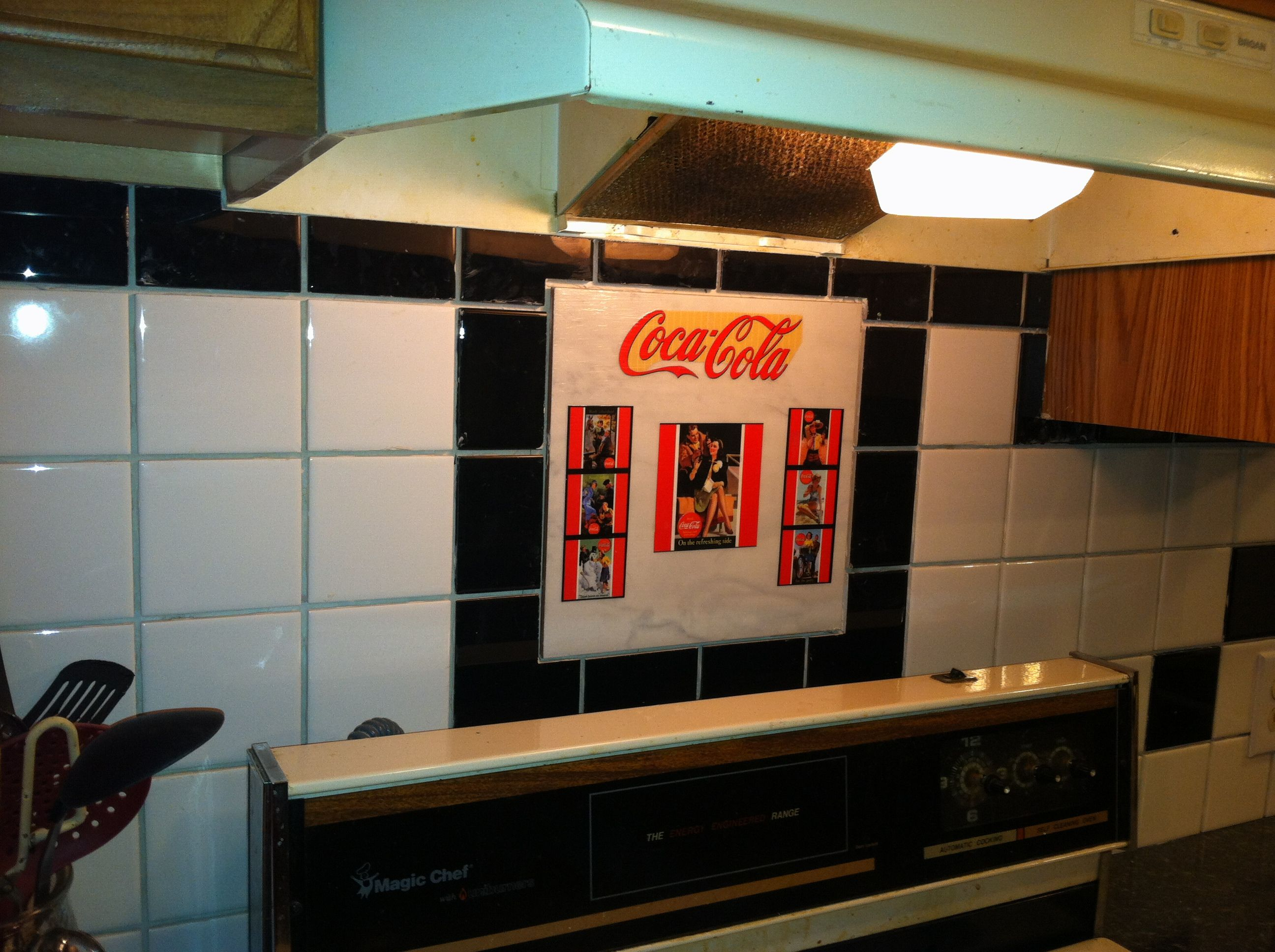 My Kitchen With My Home Made Coca Cola Ceramic Tiles Kitchen