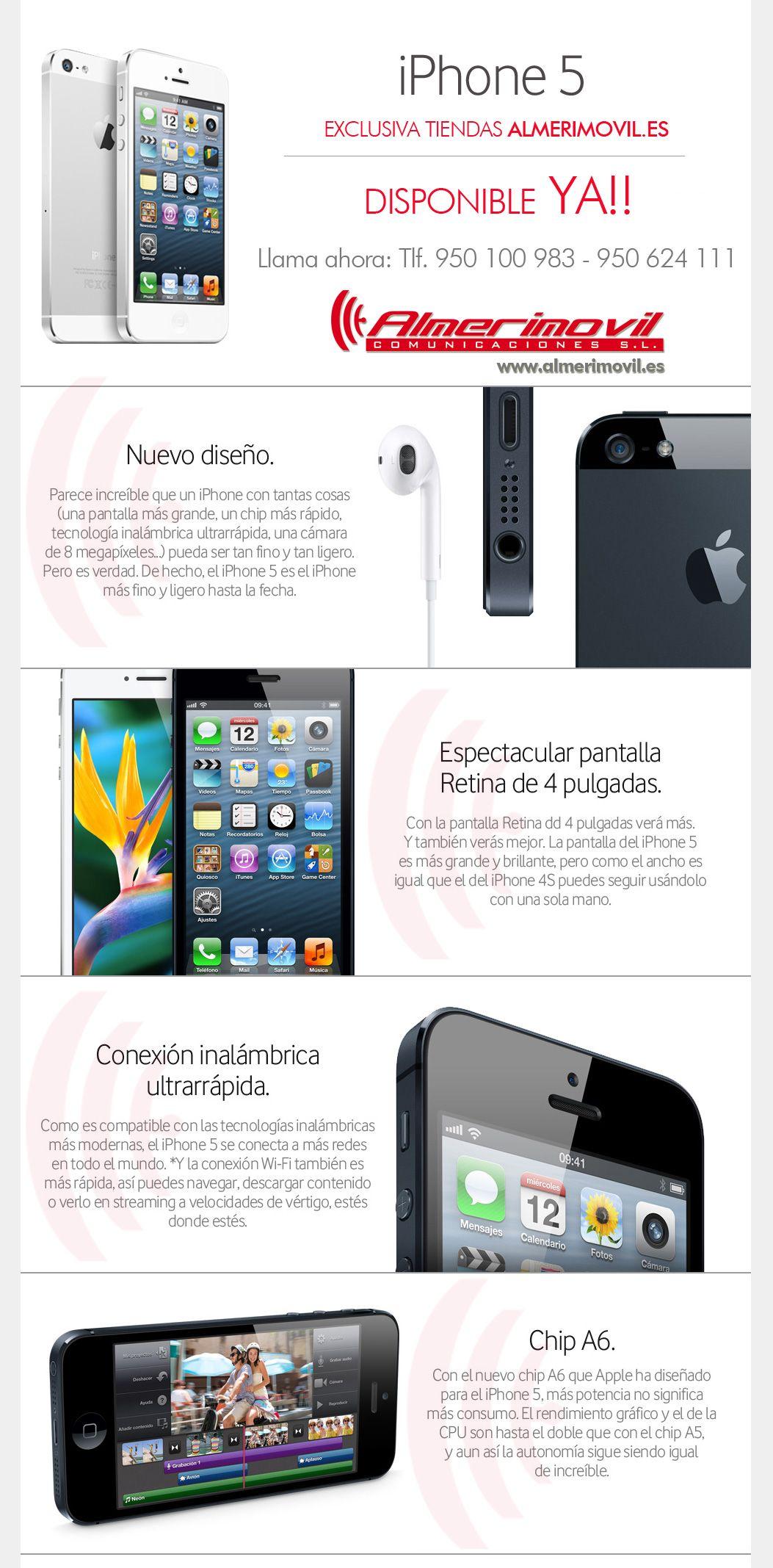 """Disponible """"IPhone 5"""" desde Ya! y en exclusiva para Almería. Solo en tiendas Almerimovil. Yupiii!! :-)"""