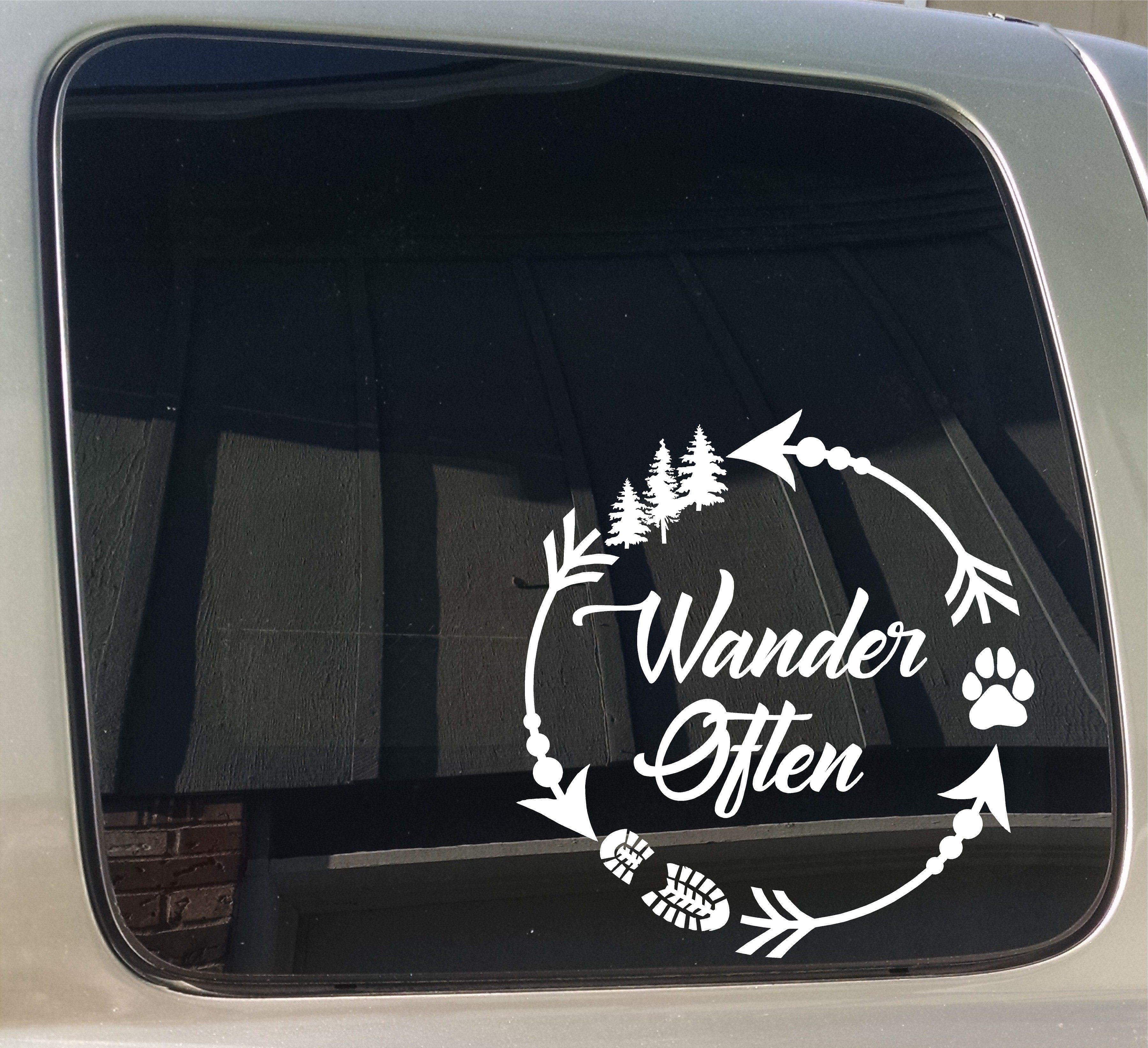 Wander Often Arrow Circle Camping Hiking Dog Paw Window Car Truck Trailer Sticker Decal Funny Car Decals Car Decals Vinyl Jeep Dogs [ 3288 x 3600 Pixel ]