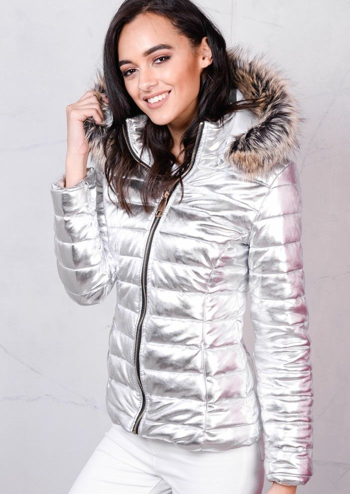 1f53444c659ed Faux Fur Hood Puffer Jacket Foil Metallic Silver