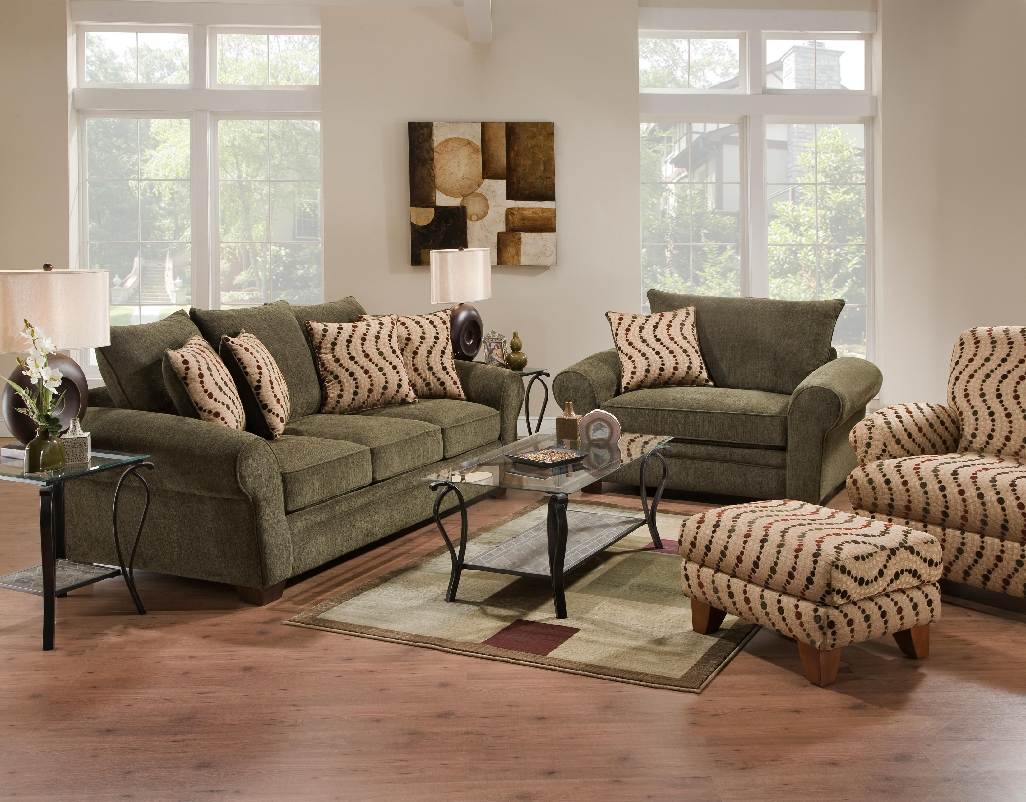 Forest green living room set