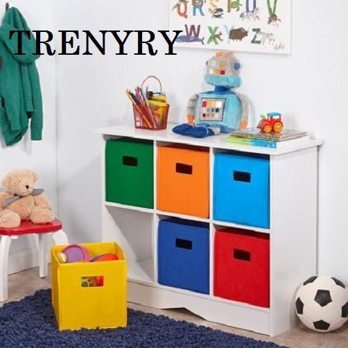 New Kids 6 Bin Storage Cabinet Espresso Toy Game Organizer Room Play Lego Color #RiverKids