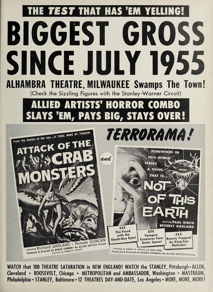 1950 horror movies on youtube