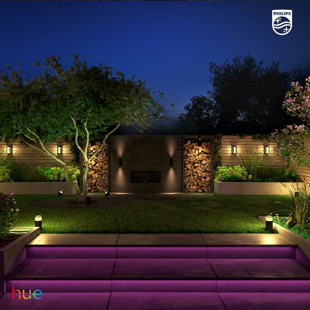 Outdoor Lighting Design Experience The Impact Of Color In Your Garden Philips Hue Outdoor Lighting Design Landscape Lighting Design Garden Lighting Design