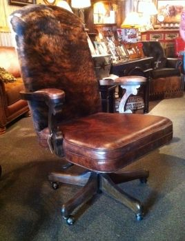 Western Office Chair, Rustic Office Chair, Cowhide Office Chair, Leather  Office