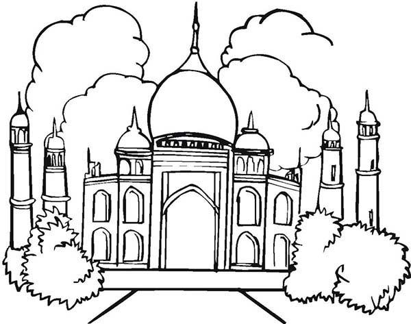 Amazing Architecture Of Taj Mahal Coloring Page Netart Halaman Mewarnai Taj Mahal Seni Cat Air