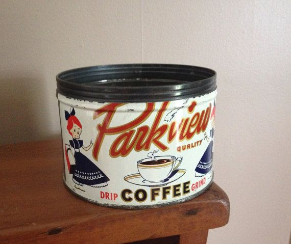 Vintage Parkview Coffee Tin 1 lb metal can 1950's by AStringorTwo