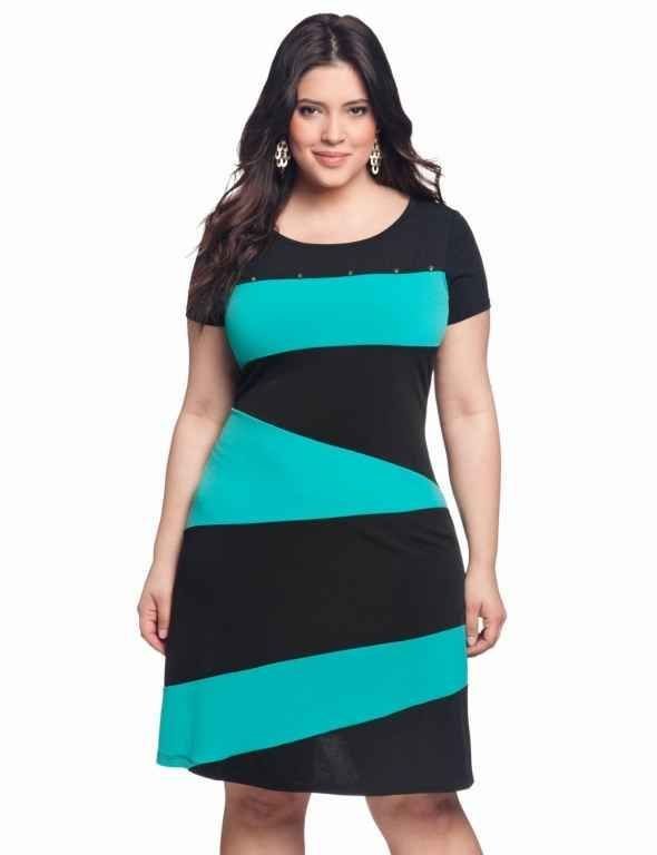 """Black and turquoise dress.  Nice bold """"blocks"""" of colour."""