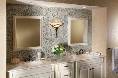 Glass Tile In Bathroom Behind Mirrors Toilet As Accent Wall Bathrooms Pinterest Toilet
