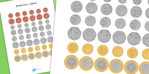 British Coins (Lifesize) - Money, coins, currency, pound, pence ...