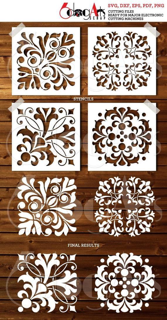 4 Tile Design Digital Stencils Vector And Raster Digital Files To Use For Yo Obras De Arte Con Mosaicos Stencil Decorativo Decoraciones De Pared De Bricolaje