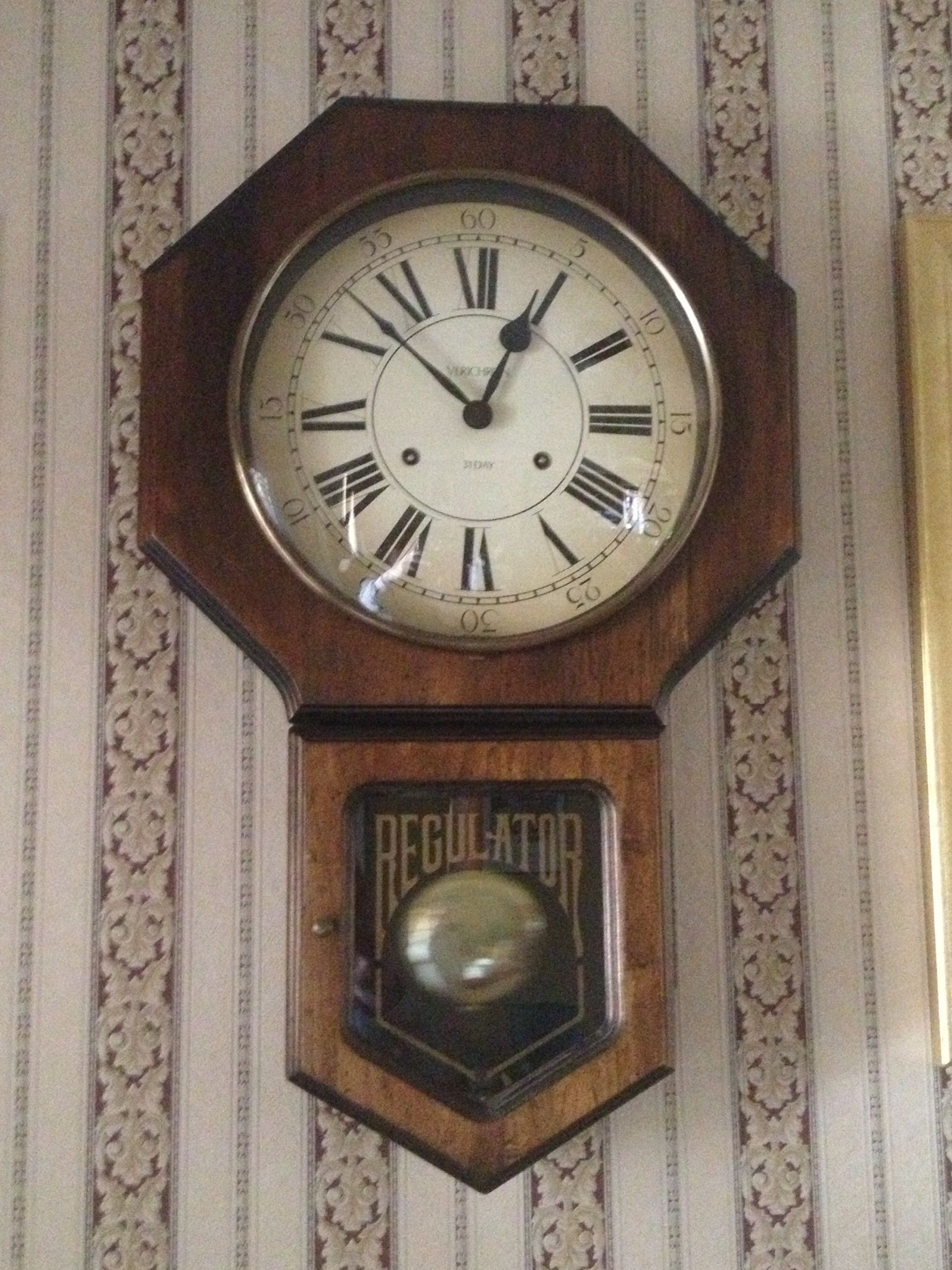Newer clock midcentury Verichron Regulator Schoolhouse clock