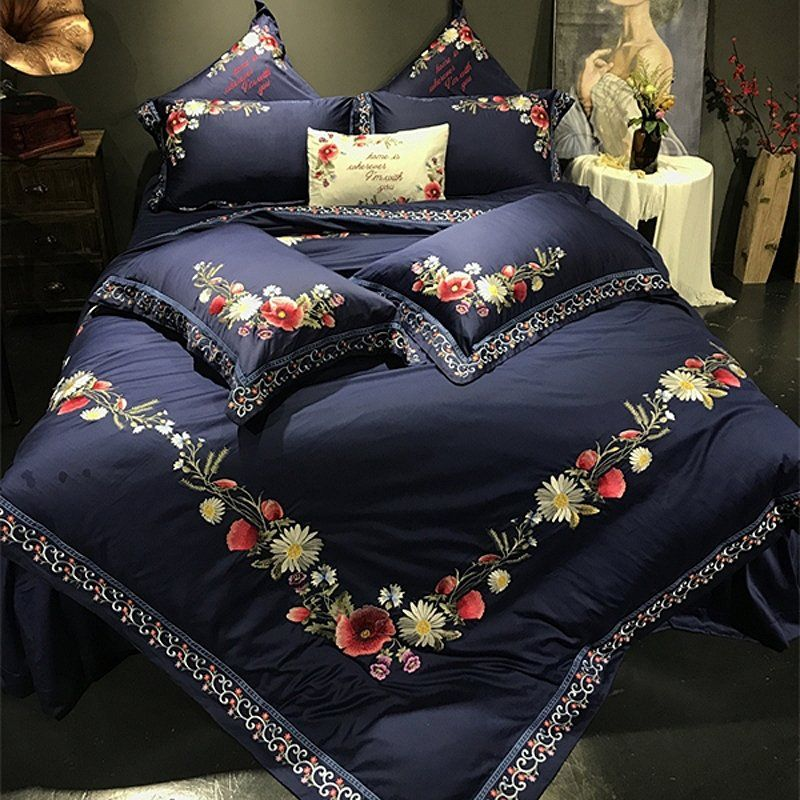 Simply Shabby Chic Navy Blue Red And White Embroidered French Country Floral Border Luxury Villa Satin Bed Linens Luxury Luxury Bedspreads Luxury Bedding Sets