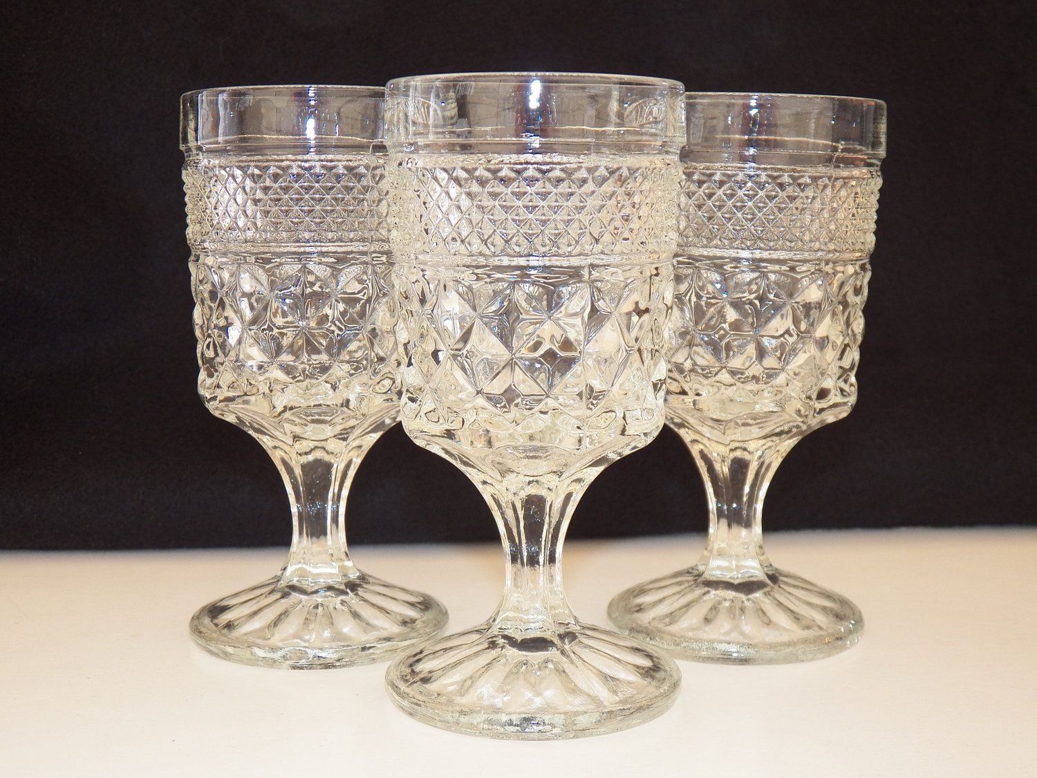 Clear glass plates for crafts - Vintage Glassware Anchor Hocking Wexford Set Of Three Goblets Glass Bar Glassware Stemware Barware Housewares Free Shipping To Usa