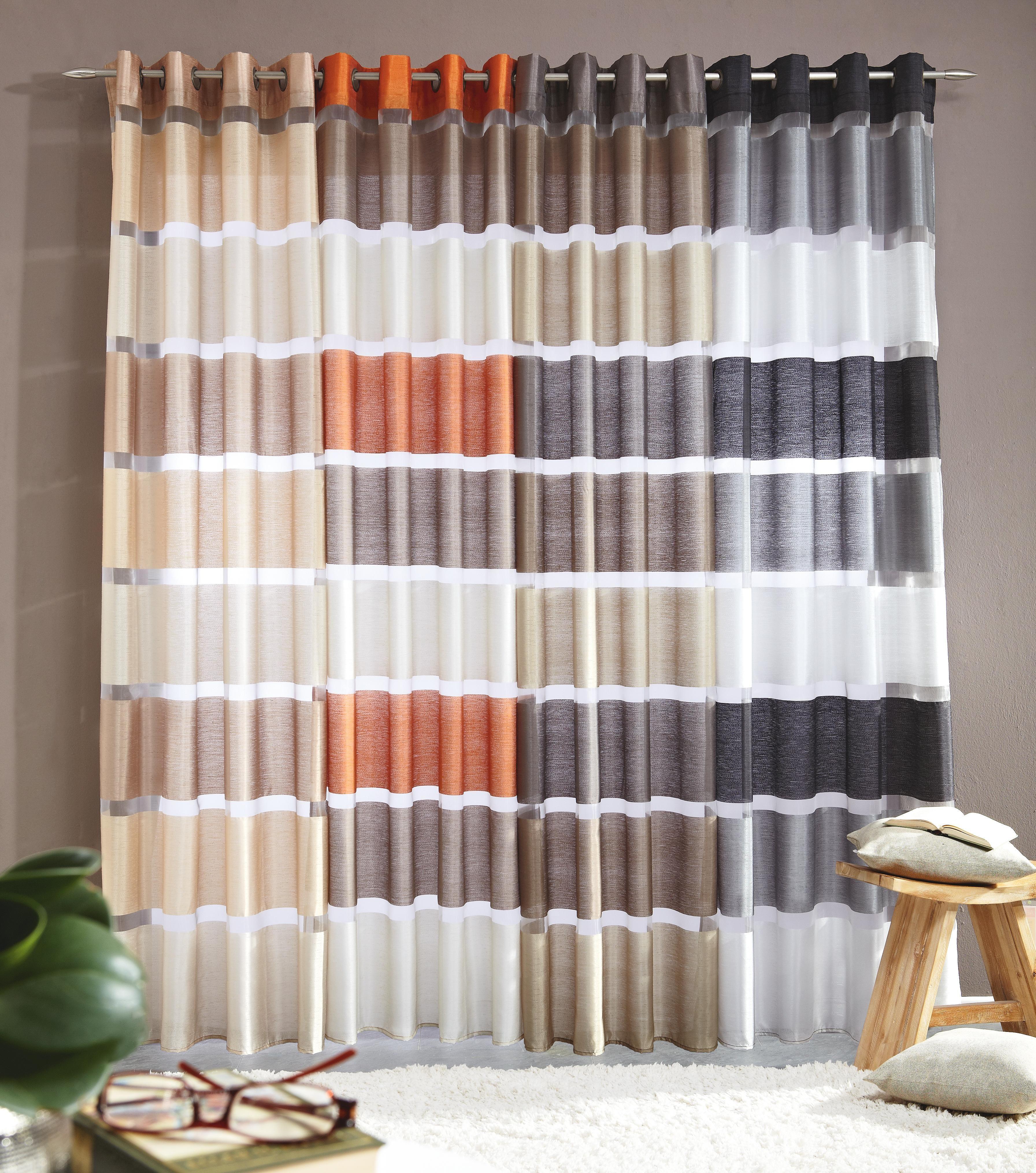 Diese Gardine Taucht Ihr Wohn Oder Schlafzimmer In Frische Farbe Der Vorhang Kommt Aus Polyester Und Polyamid Mit Einem Streif Osenschals Dekoration Gardinen