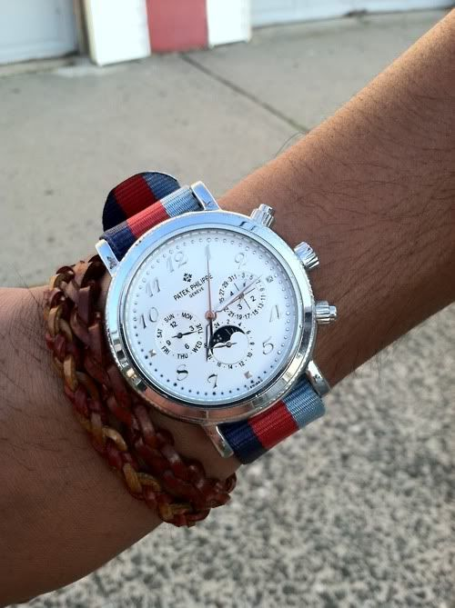 Love the über expensive Patek watch with the grosgrain band-high & low can be amazing.
