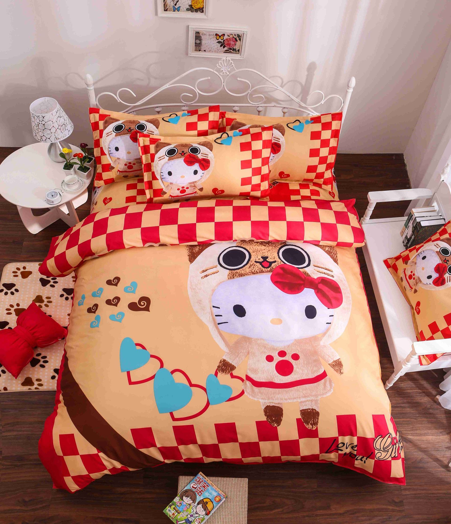 Hello kitty bed set queen size - Hello Kitty 4pcs 16 Variants Beding Set Include Duvet Cover Bed Sheet