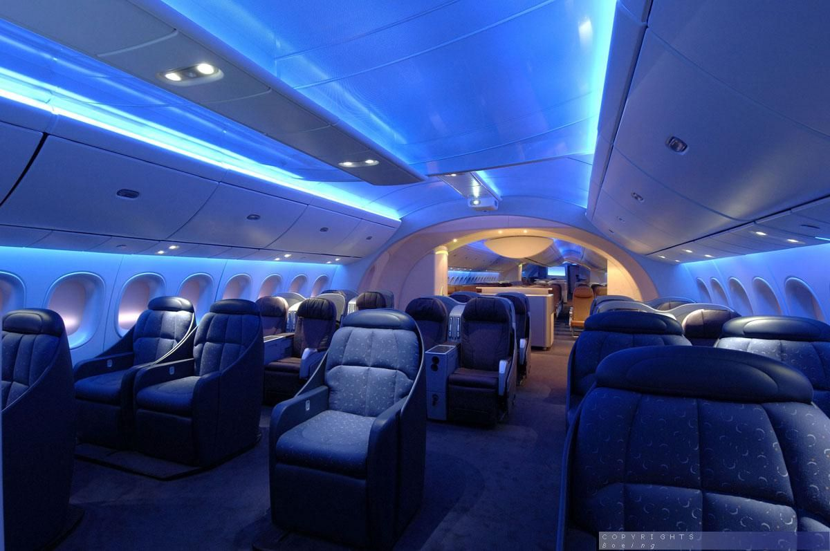 Boeing 787 Dreamliner interior - Finance your flight on this luxury ...