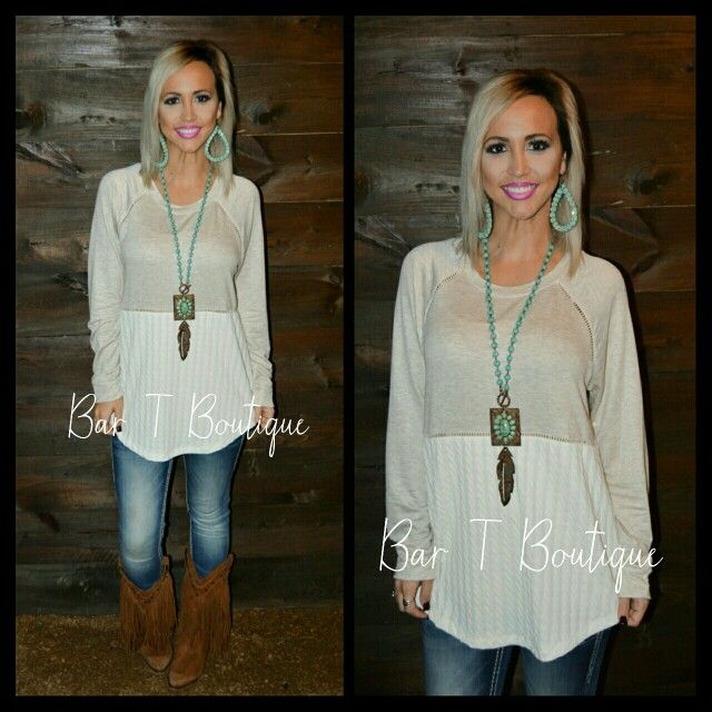 Oatmeal Long Sleeve Tunic ~ Follow @bar_t_boutique on Instagram to Shop Weekly New Arrivals!