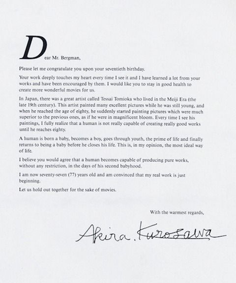 Kurosawa To Bergman Letter Re Age  Home    Japanese