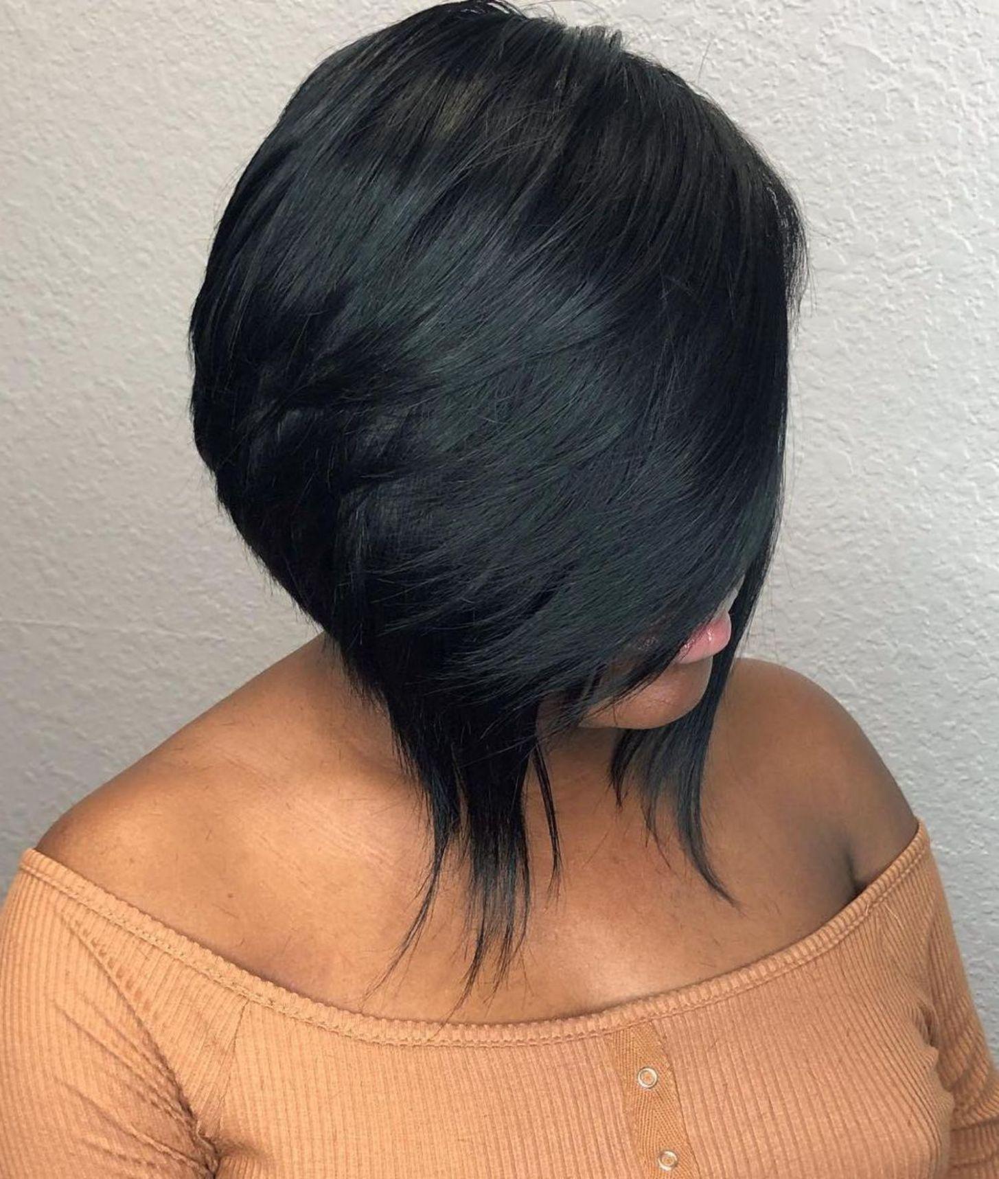 Sleek Inverted Black Bob Bob Hairstyles Angled Bob Hairstyles Bobs Haircuts