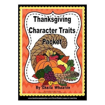 Thanksgiving Character Traits Packet Reading, Writing, \ More - positive character traits