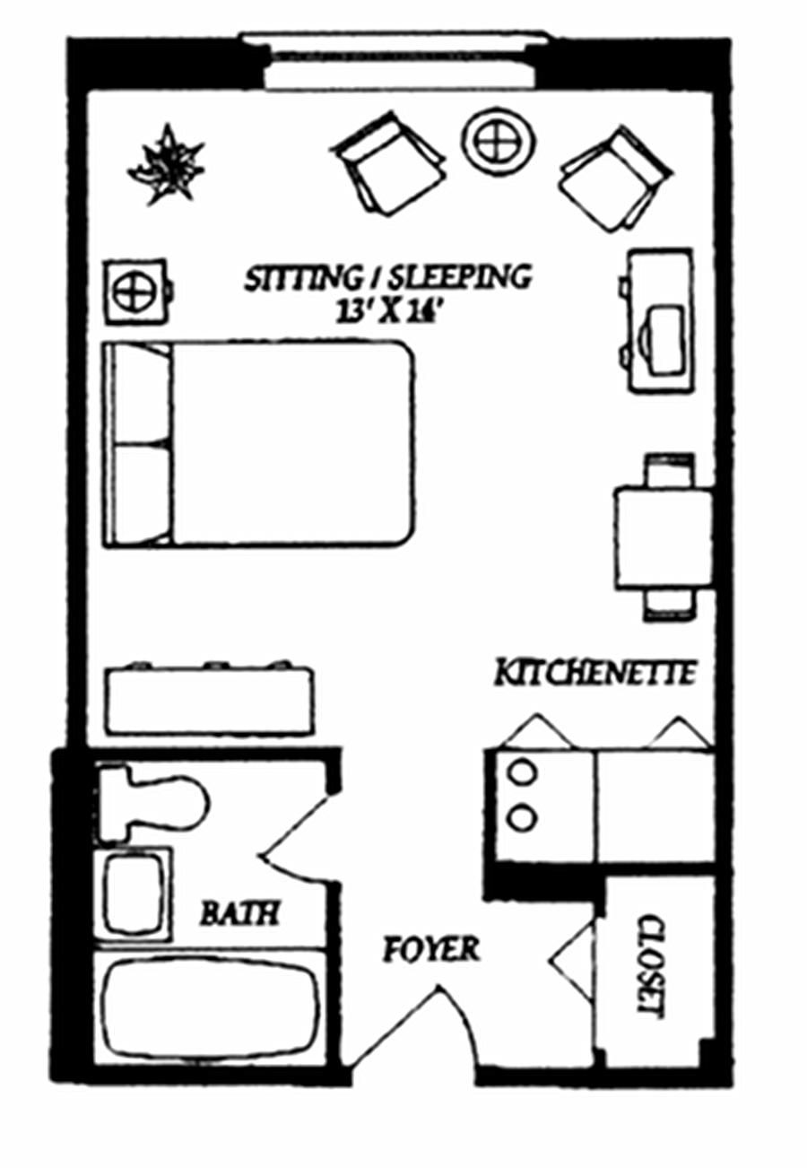 Super simple studio floor plan ideas pinterest for Studio apartment furniture arrangement