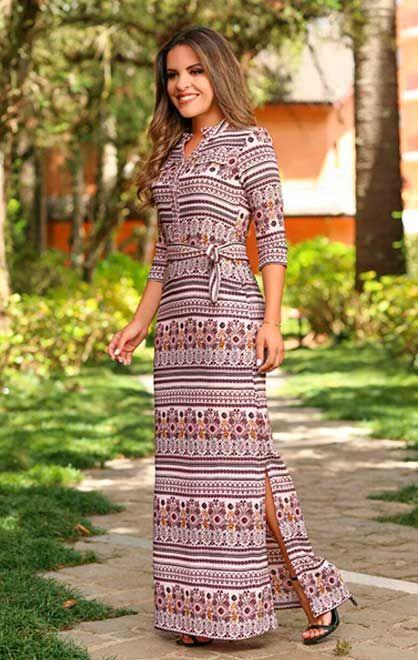 4120877ca4a575 Nk3 Moda Evangelica Vestido Longo Simples, Vestido Longo Basico, Vestidos  De Bolinhas, Vestidos