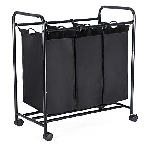 Songmics Laundry Basket Laundry Trolley With 3 Removable Fabric