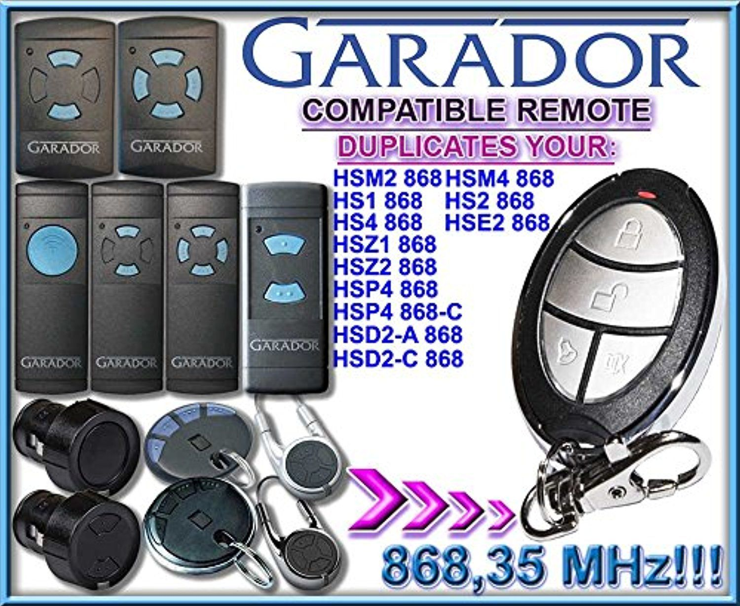 GARADOR- HSM2 / HSM4 / HS1 / HS2 / HS4 / HSE2 / HSD2-A / HSD2-C / HSP4/ HSP4-C / HSZ1 / HSZ2 compatible remote control transmitter replacement, 868.3Mhz clone!!! -- Awesome products selected by Anna Churchill