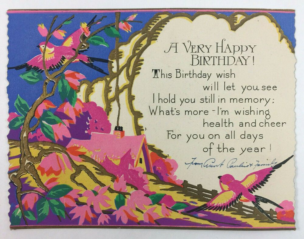 beautiful vintage greeting card a very happy birthday