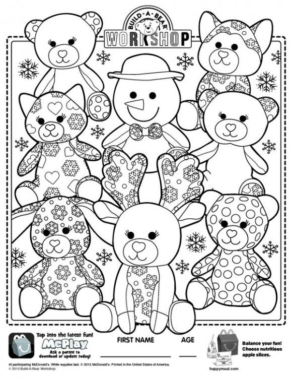Free Happy Meal Printables From Mcdonalds Bear Coloring Pages