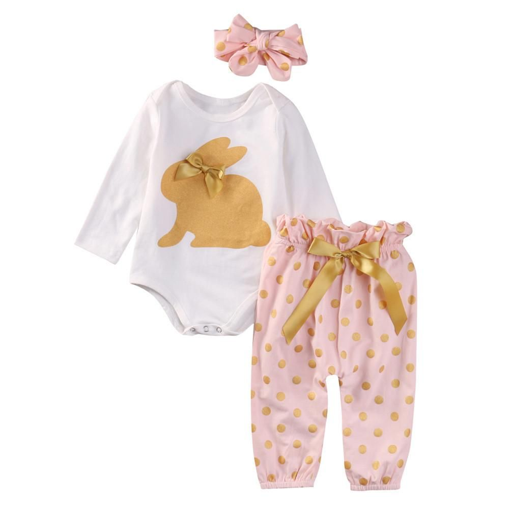 81340598246 Newborn Infant Baby Boy Girl Romper Tops+Dot Pants+Headband Outfits Clothes  Set NOTE  Please compare the detail sizes with yours before you buy!!!