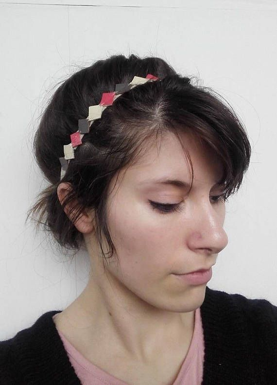 Head Band Squeeze Tighten Head Graphik Leather Mole Ivory