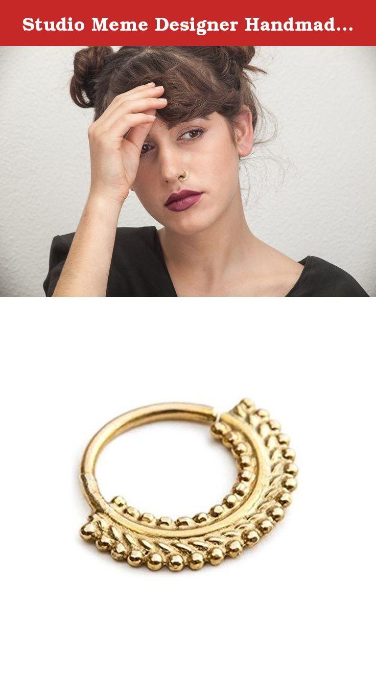 Nose piercing through both nostrils  Studio Meme Designer Handmade Nose Rings available in Solid k