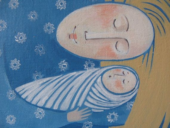 Mother and Child an original painting 6 x 6. by jamjarart on Etsy, $58.00