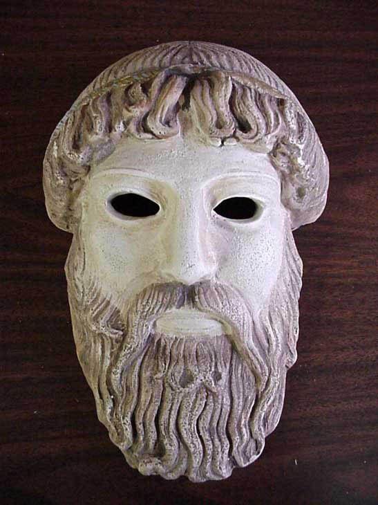 ANCIENT GREEK THEATRICAL MASK OF GOD ZEUS - UNIQUE