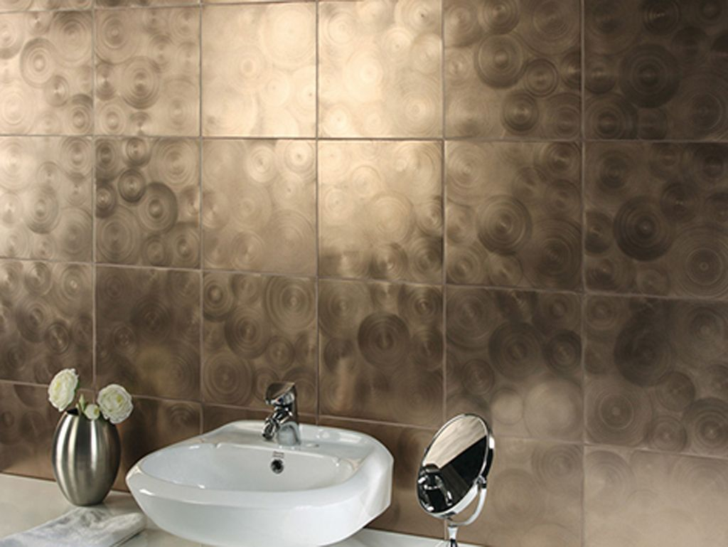 metallic tile in the bathroom - beautiful tile ideas to add